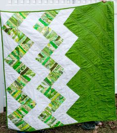 green and white chevron quilt