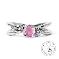 Foliage Ethical Pink Ruby Gemstone Engagement Ring
