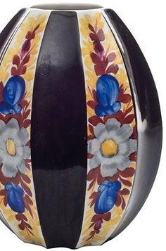 Janák Pavel (1882-1956), Graniton  Dvanáctiboká váza, č. modelu 759/3 Čechy, návrh tvaru P. Janák v r. 1911, výroba fa Graniton Rydl/Thon Svijany – Podolí, č. modelu 759/3, měkká kamenina, široké černé pole střídá typický granitonský dekor, výška 13 cm nepoškozeno Pavlova, Vase, Ceramics, Ceramica, Pottery, Ceramic Art, Vases, Porcelain, Jars