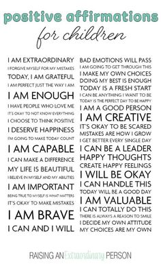 Positive Affirmations for Kids - These positive affirmations help children develop positive self-took, boosts confidence, helps children cope with difficult situations, and more. Includes printable positive affirmations you can use as wall art. Positive Affirmations For Kids, Positive Words, Daily Affirmations, Positive Discipline, Positive Quotes, Gentle Parenting, Parenting Advice, Kids And Parenting, Parenting Issues
