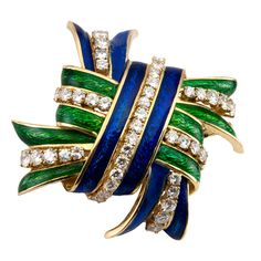 WEBB Enamel and Diamond Brooch   From a unique collection of vintage brooches at https://www.1stdibs.com/jewelry/brooches/brooches/