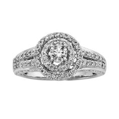 14k White Gold 3/4-ct. T.W. Round-Cut IGL Certified Halo Wedding Ring, Women's, Size: 9.50