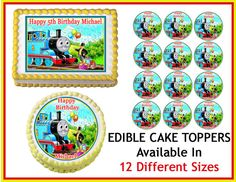 THOMAS THE TANK Engine Train Edible Cake Image Cupcake Topper Quarter Half 12 Sheets Sizes Available