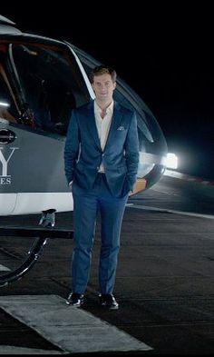 Jamie Dornan Mark Bridges (Costume Designer) Custom Made Navy Wool Suit from Fifty Shades of Grey   TheTake