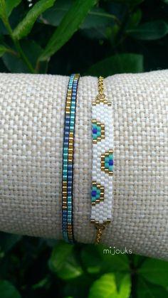 Miyuki bracelet,evil eye bracelet,beaded… - Top Of The World Dainty Bracelets, Dainty Jewelry, Handmade Bracelets, Beaded Jewelry, Handmade Jewelry, Seed Bead Bracelets Tutorials, Jewelry Bracelets, Silver Jewelry, Bead Loom Bracelets