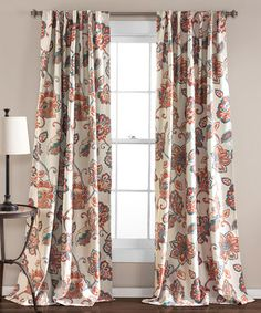 Pink Aster Curtain Panel - Set of Two