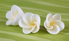Sugar Half Bloomed Plumerias (Frangipani) made from Gum Paste.  Summer Cake Topper.
