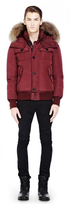 Mackage - QUENTIN MERLOT DOWN BOMBER JACKET WITH FUR TRIMMED HOOD