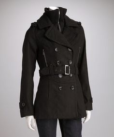 Take a look at this Black Peacoat by Yoki on #zulily today!