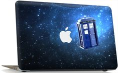 Apple MacBook Pro Skin Cover w/ Apple Cutout - Tardis Doctor Who Police Call Box.