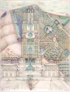 Barbara Solomon drawing of Villa Lante site...color scheme....org of 2 dimensions