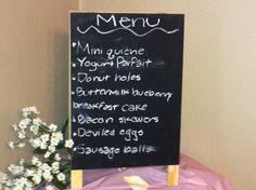 Chalkboard Menu for my Housewarming brunch