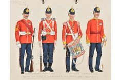 The Duke of Cambridge's Own (Middlesex Regiment); Colour Sergeant and Private - Drummer and Officer - 1902 British Uniforms, Duke Of Cambridge, Military Uniforms, British Army, Armed Forces, Victorian Era, Great Britain, Empire, Ford