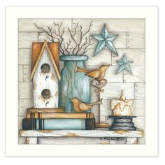 """Birdhouse on Books"" By Mary June, Printed Wall Art, Ready To Hang Framed Poster, White Frame (Quotes and Sayings), Trendy Decor Framed Wall Art, Framed Art Prints, Canvas Wall Art, Canvas Prints, Wall Decal, Primitive Painting, Tole Painting, Pintura Country, Country Paintings"