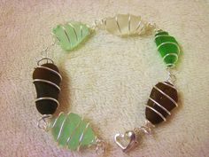 SALE Sea Glass Jewelry, Sea Glass Bracelet, Sea Foam Sea Glass, Bangle Bracelet, Wire Wrapped Sea Glass Bracelet, Seafoam Blue Seaglass.. $25.00, via Etsy.