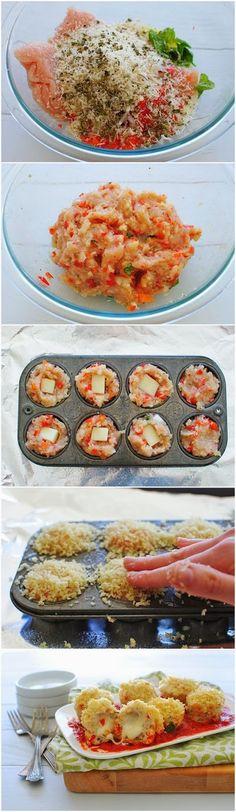 Allrecipecenter: Mini Chicken Parmesan Meatloaf Cupcakes