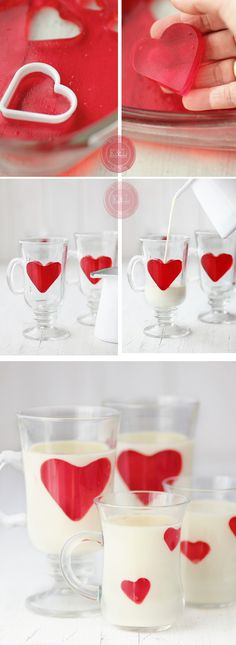 white chocolate panna cotta with jello hearts Köstliche Desserts, Dessert Recipes, Chocolate Desserts, Cute Food, Yummy Food, Snacks Für Party, Food Decoration, Creative Food, Food Presentation