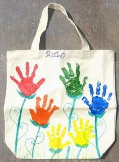 Mothers day craft - handprinted cotton bag with handles