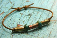 Rustic Handmade Copper and Ceramic Beaded by AllowingArtDesigns