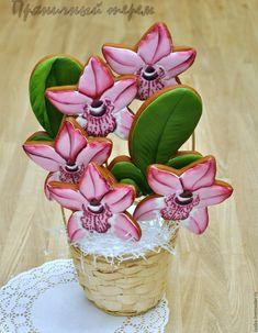 Купить Корзина орхидей - букет пряничных цветов - пряник, расписные пряники, имбирное печенье