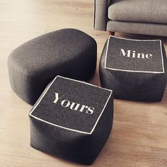 Here's one less thing to fight over. #mineandyours  Get your very own bean cube through the link in the bio. #home #slogan #mine #yours #decor #furniture #seating  Product code: 369738