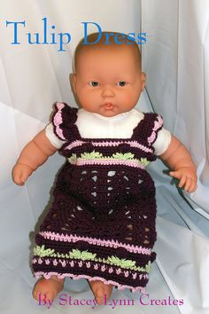 Tulip Dress Pattern  Crochet  6-9 months size by staceyLynnCreates, $3.00