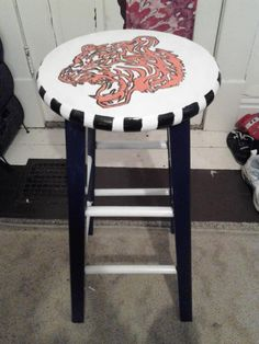 Detroit Tiger stool i made for my aunt