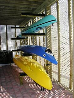 Kayak Storage Shed homemade kayak storage rack Diy Kayak Storage Rack, Kayak Rack, Boat Storage, Garage Storage, Storage Ideas, Ice Fishing House, Surf House, Apartment Plans, Tiny House Plans