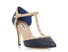 0bf67ef4b11a DUNE LADIES CLIOPATRA - Studded T-bar Court Shoe - navy | Dune Shoes Online