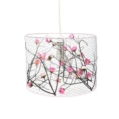 Hanging lampshade Astrid pink flowers large by bobo series