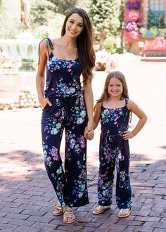 c9c19a0fa7a Mommy Beautiful Floral Spaghetti Tie Romper Navy. Mother Daughter  FashionMother Daughter Matching OutfitsMommy And Me OutfitsLittle Girl ...