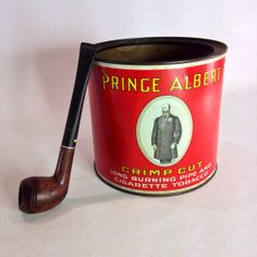Red Prince Albert Crimp Cut Tobacco Tin by Eagleseyefinds on Etsy, $13.47