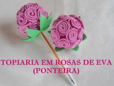 TOPIARIA EM ROSAS DE EVA (PONTEIRA) - YouTube Foam Crafts, Diy And Crafts, Arts And Crafts, Creative Gifts, Creative Art, Fabric Bow Tutorial, Pen Toppers, Church Crafts, Craft Club