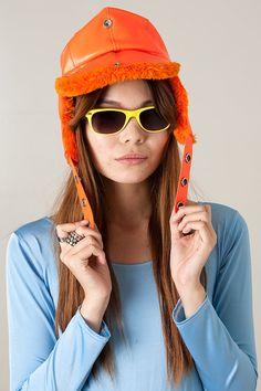 Vintage Boho Bright Orange Vinyl   Hunting Cap Trapper EAR WARMER Russian  Aviator Glam Hat c9af80ebe21
