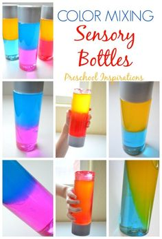 Make a color mixing sensory bottle for sensory play, learning about colors, or just for fun! These are perfect for all ages. Make a color mixing sensory bottle for sensory play, learning about colors, or just for fun! These are perfect for all ages. Sensory Bottles Preschool, Preschool Science, Sensory Bottles For Toddlers, Preschool Kindergarten, Rainbow Sensory Bottles, Autism Preschool, Preschool Cooking, Baby Sensory, Sensory Play