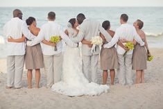 modern beach wedding party in taupe, photo by  vitalicphoto.com