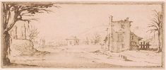 Attributed to Jacques Callot | Farm Buildings at the Edge of a Stream Crossed by a Drawbridge in the Distance | Drawings Online | The Morgan Library & Museum