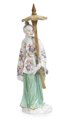 A Meissen figure of an Japanese lady with parasol, mid 18th century