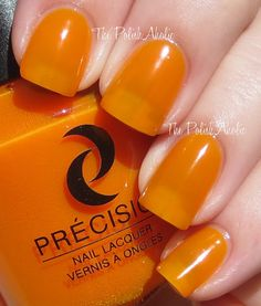 """""""Kiss Kiss Tang Tang is an orange neon with a jelly finish. This is another that could use some undies but I did like the formula...the consistency was nice and it was easy to apply. I used 3 coats for the photos below."""""""
