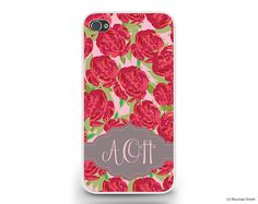 AOII Alpha Omicron Pi Roses Pattern Sorority Cell by BoutiqueGreek, $24.50