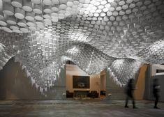 Paper Chandeliers ceiling by Cristina Parreno during the Art Fair in Madrid, Spain.   Plafond van papieren lantaarns tijden de Art Fair in Madrid.