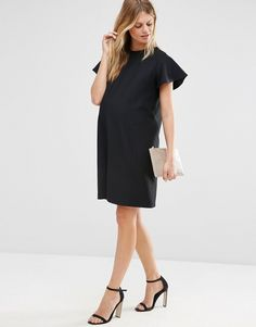Image 4 ofASOS Maternity Ruffle Sleeve Jersey Shift Dress