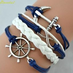 Diomedes Newest Classy1PC Handmade Adjustable Rudder Anchor Charms Multilayer Bracelet Wristband Popular Casual Bracelet #0217