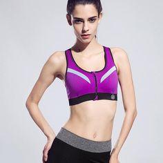 New!! Women's Zipper Sports Bra Push Up
