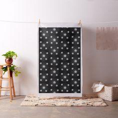 Abstract Star Style  Pattern Grey Black Fabric - craft diy cyo cool idea