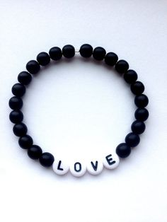 LOVE Black Matte Beaded Bracelet - Personalized Initial Monogram Stretch Bracelet