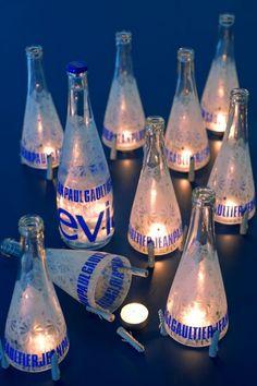 VISI / Articles / DIY designer lamp water / wine bottles cut and recycled. Cutting Wine Bottles, Bottle Cutting, Diy Bottle, Bottle Crafts, Tea Light Candles, Tea Lights, Old Vases, Water Into Wine, Recycled Bottles