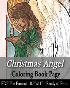 Printable Coloring Book Page - Christmas Angel Holding Candle with Decorative Border for Kids and Adults