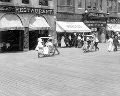 Push Cart On Boardwalk Atlantic City 1920 Vintage 8x10 Reprint Of Old Photo