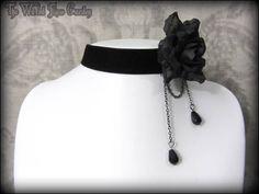 Romantic Gothic Victorian Black Velvet Rose Teardrop Bead Choker Elegant Goth 1 | THE WILTED ROSE GARDEN